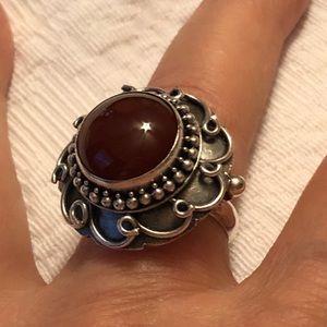 Stunning sterling silver red jasper ring size 7.75